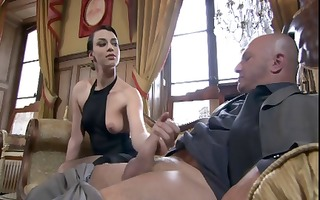 naughty french bitches stroke and engulf his