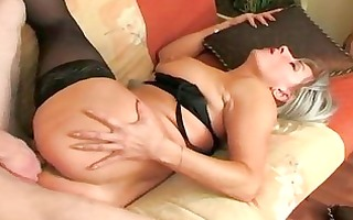 he is wakes up stockings granny and copulates her