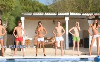 six exposed cuties by the pool from italia