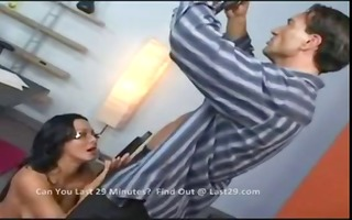 sandra romain receives down and messy munching