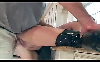 brunette fucks in latex underware boots and gloves
