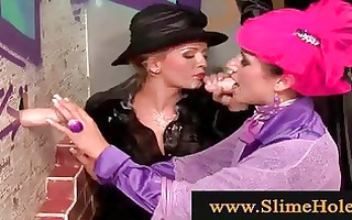lesbian babes using strapon and dildos
