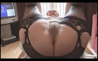 bushy breasty older lady in slide and girdle does
