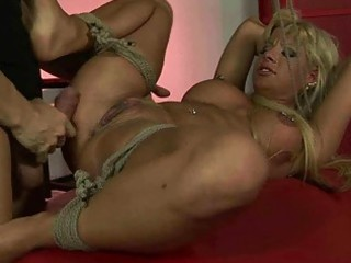 Sexy blonde gets tied up and fucked hard