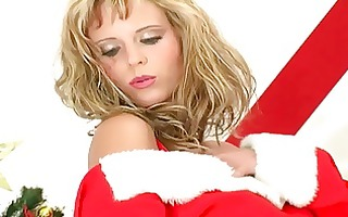 blonde does a holiday strip tease in underware