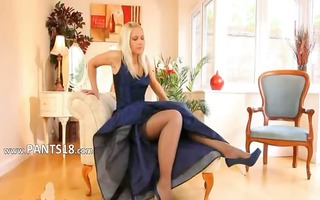 blue shoes and hot skirt and stocking