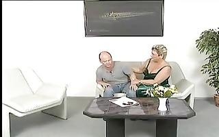 chubby granny in white stockings sucks and bonks