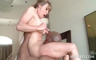 blond aged mom copulates darksome pecker