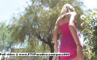 tina ravishing golden-haired playgirl outside