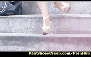 blond girl nylon upskirt on stairs