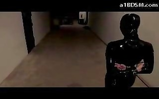 blindfolded cutie in latex overal spanked with