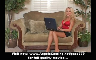 blond mother i with laptop toying snatch and