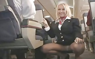 breasty stewardess drilled in a plane