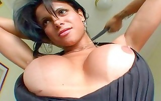 breasty tanned brunette hair ladyboy plays with