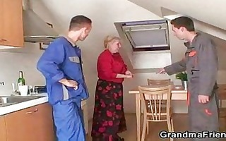 repairmen group-sex breasty grandma from one as