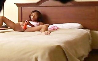 spying teen ilanga toying in the bedroom