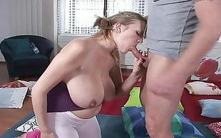 lusty blonde milf hottie gives stunning oral-job