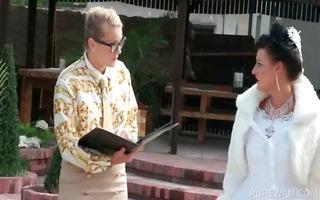 hottie in bride gown acquires wet in pool