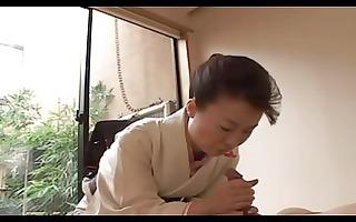 japanese older gives full geisha treatment