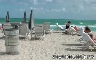sunbathing beach chick ends up drilled by a