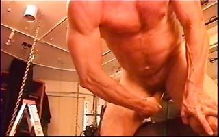 suspended bodybuilder bottom with electro butt