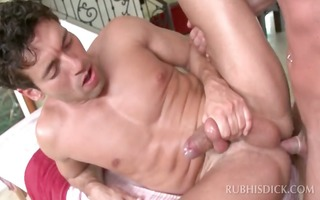 homosexual masseur having anal sex with a muscled