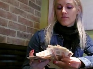 Slutry blonde babe doggied in the toilet