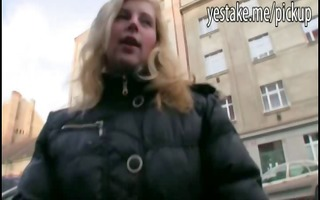 blonde euro girl acquiesces to pose and engulf