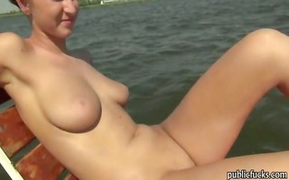 large tits non-professional babe payed and banged