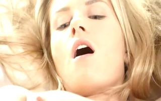 blond gal fingering wet crack in white