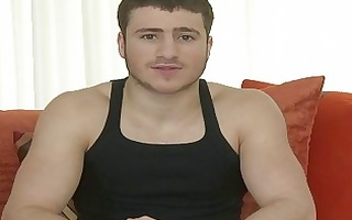muscled homo man stripping and masturbating in