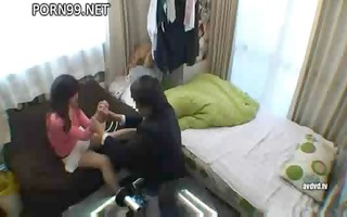 asian hotty is talked into giving a little head