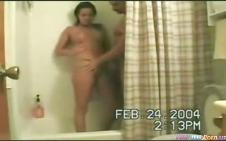 brunette hair shower from behind pumping act