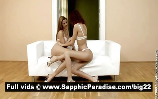 hawt brunette and redhead lesbian babes giving a