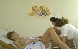 nurse prepares woman for doctor