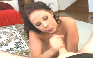 busty hottie tugjob and swallow