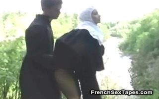 lustful nun anal drilled outside