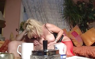 really breasty blond eats his ock and then titty