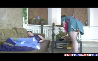 brunette russian mommy in stockings wakes him up