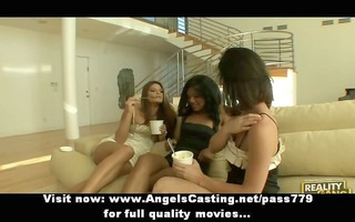 lesbian threesome with dark brown beauties