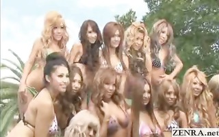 tanned group of japanese legal age teenagers pose