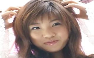 horny japanese hotty teasing herself