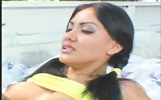 cute lalin girl is drilled in the back of a